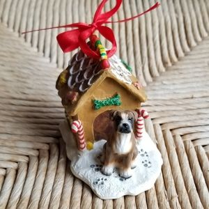 🎃Adorable Boxer w/ Gingerbread Dog House Ornament